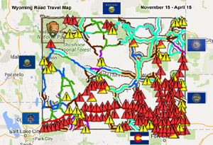 Wyoming road travel map, November 15-April 15